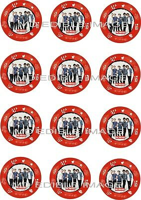 """ONE DIRECTION Edible Rice paper Image Cupcake Toppers 12 x 2"""" Birthday Party"""