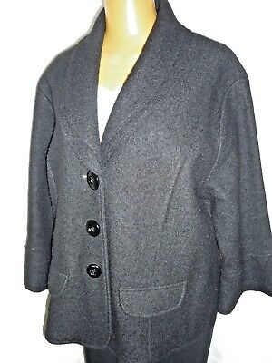 Shawl collar, black jacket / coat, 100% wool sz 2X 22W by Lisa International
