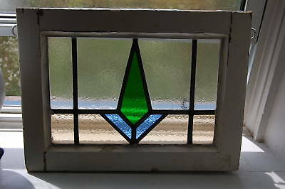 Vintage ENGLISH STAINED GLASS Leaded Window pane Geometric Orig Frame 17.5 x 13