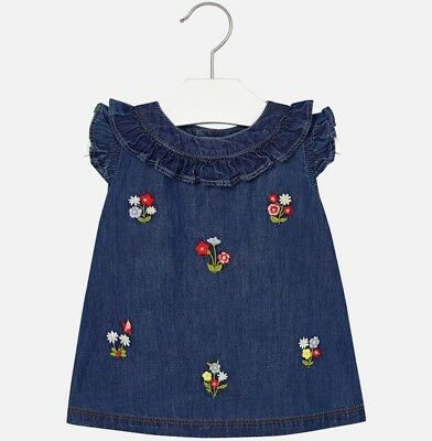 New Mayoral Embroidered Baby Girl Denim Dress, Age 6 Months (1946)