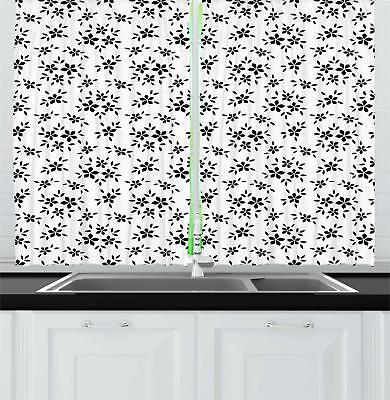 """Summer Flowers Kitchen Curtains 2 Panel Set Window Drapes 55"""" X 39"""" by Ambesonne"""