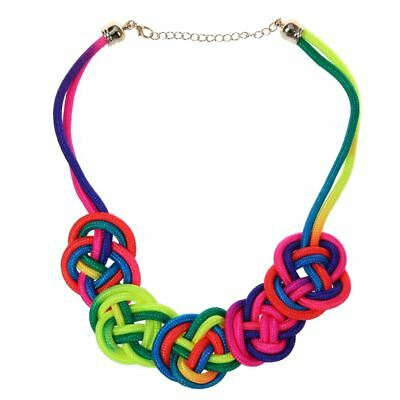 Bright Neon Knot Fabric Statement Collar Necklace - Multicolor Z5S6