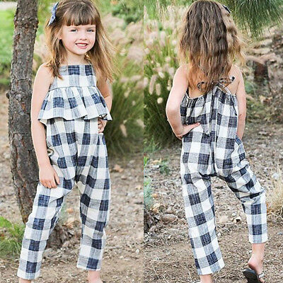 UK Kids Girls Ruffle Plaid Rompers Jumpsuits Bodysuit Trousers One-piece Clothes