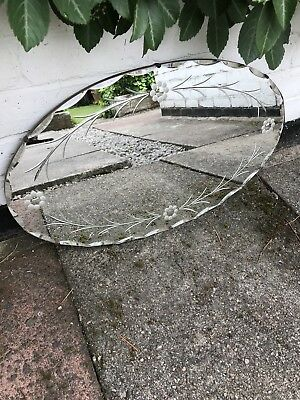Oval Mirror Vintage Art Deco Round Frameless Scalloped Edge Etched Mirror