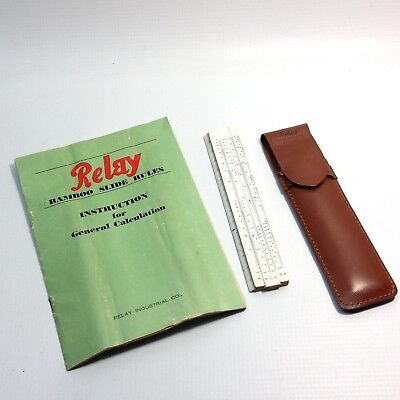 Vintage Relay Bamboo Slide Rule + Case & Instructions