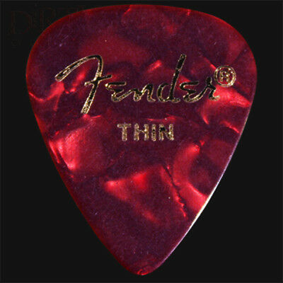 Fender Red Moto Thin Guitar Picks / Plectrums - Choice Of Quantities