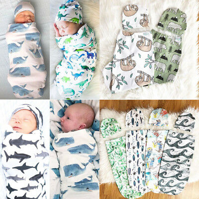 2Pcs Infant Baby Dinosaur Blanket Swaddle Muslin Wrap Swaddling Sleeping Bag+Hat