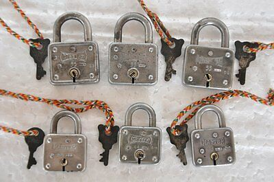 6 Pc Old Iron Unique Square Shape Handcrafted Master Brand Padlocks ,USA