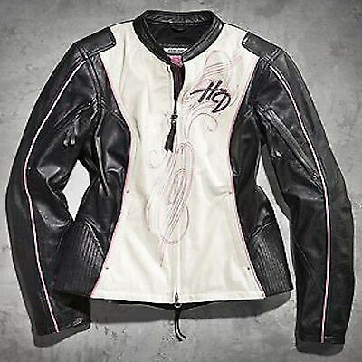Women's Harley-Davidson Pink Label Colorblocked Black Leather Jacket