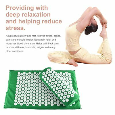 Acupressure Mat and Pillow Set Hypoallergenic Relief of Stress/Pain/Tension MX