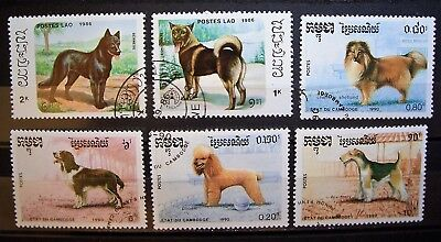 Cambodia - Dogs 6 CTO Stamps, Add To Your Collection