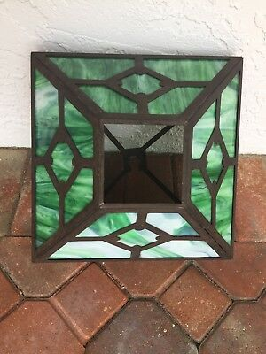 Antique Arts & Crafts/ Mission Style Green White Stained Slag Glass Lamp Shade