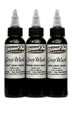 ETERNAL Tattoo Inks 3 Colors Gray Wash SET Light Medium Dark 1 oz 30 ml Bottle
