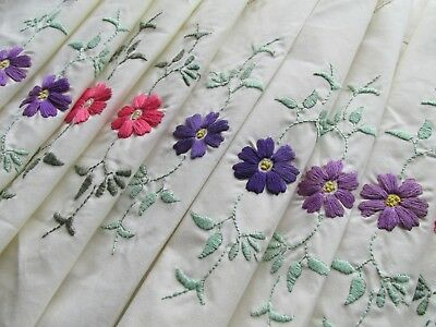 Set of Eight Floral Hand embroidered Vintage Style Table Place Mat's-unused