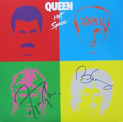 "Queen Brian May Roger Taylor Autogramm signiert  LP Vinyl ""Hot Space"""