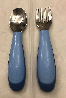 """Playtex"" Two-Tone Blue - Toddler Fork And Spoon Set - Plastic Handles"