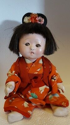 """Antique Japanese Character 6 1/2"""" Child Doll"""