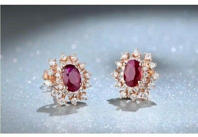 14k Rose Gold Over 2.50Ct Red Ruby Oval &  Round Cut Diamond Halo Stud Earrings