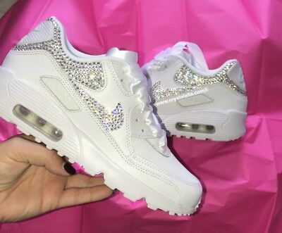 CRYSTAL NIKE IN White Nike Air Max 90 Swarovski Crystal