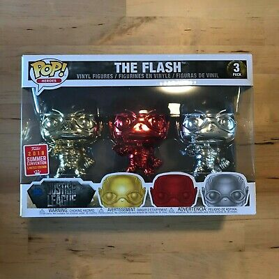 Funko Pop Heroes Chrome Flash 3-pack SDCC 2018 Exclusive Limited CONFIRMED