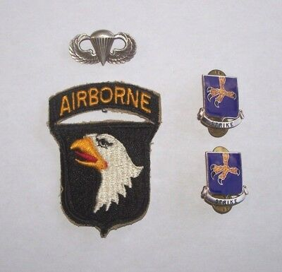 """Old 101st Airborne PATCH, 2-""""STRIKE"""" Unit Crests & STERLING Parachute BADGE"""