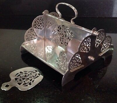 Vintage Silver Plated Cake / Sandwich Stand & Cake Slice Very Unusual Attractive