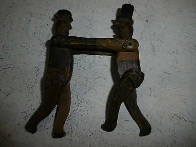 Antique wooden toy push me pull you two men fighting Victorian? Edwardian?