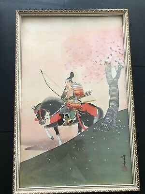 Traditional Japanese SAMURAI Warrior Bowman on Horse print Vintage 47cm by 31 cm