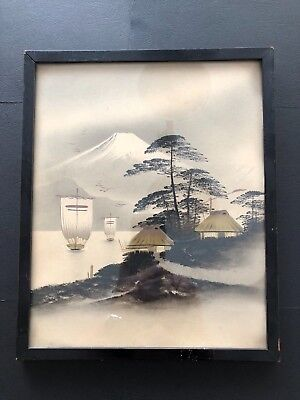Old Vintage Japanese Mount Fuji Silhouette Painting With Gilt 31 cm by 25 cm x 3