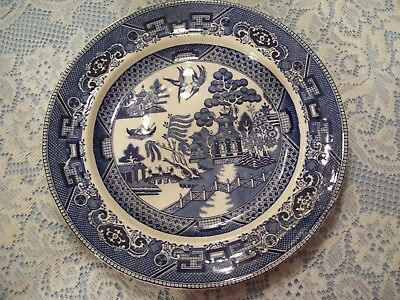 "Buffalo Pottery Antique Blue Willow 10-1/4"" Dinner Plate Semi Vitreous 1911"