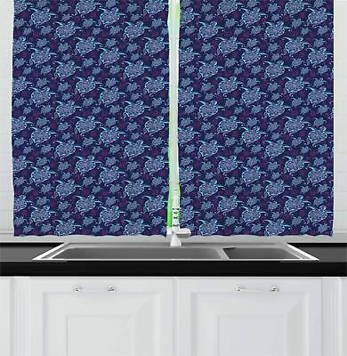 """Cartoon Turtle Kitchen Curtains 2 Panel Set Window Drapes 55"""" X 39"""" by Ambesonne"""