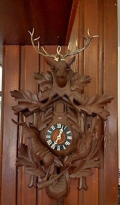 German Baduf Wooden Cuckoo Clock Vintage Working
