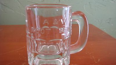 A&w Root Beer Clear Mug Mini Childs Sample Size Rare Raised Lettering Old Mint