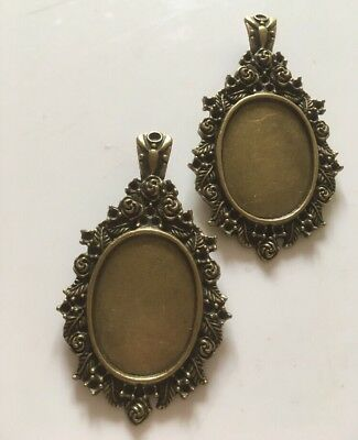 2 X Pendant Cabouchon Trays Oval Ornate Antique Bronze 7cm For Glass Dome Resin