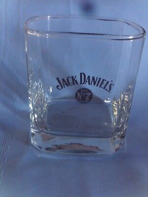 Jack Daniels Old No. 7 Brand Square  Low Ball Whiskey Glass Free Shipping