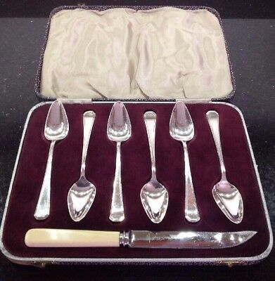 Vintage 7 Piece Silver Plated Grapefuit Set In Grecian Pattern