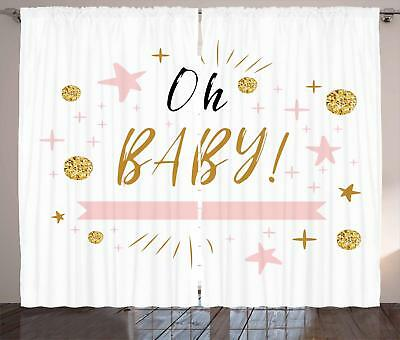 Oh Baby Curtains 2 Panel Set Decoration 5 Sizes Window Drapes Ambesonne