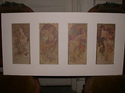 4 x ORIGINAL 1898 ALFONS MUCHA POSTERS LITHOGRAPHS FIRST SERIE SEASONS UNALTERED