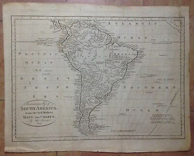 SOUTH AMERICA XVIIIe CENTURY by TH. BOWEN LARGE ANTIQUE COPPER ENGRAVED MAP