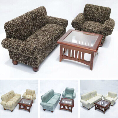 1/12 Scale Dollhouse Miniature Furniture Living Room Sofa Couch Table 3pcs Set