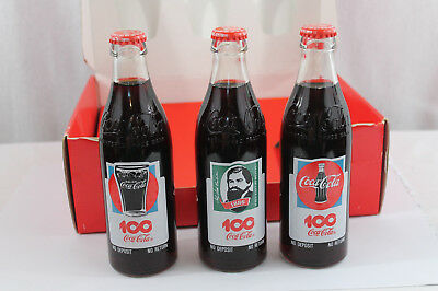 Norwegian Coca-Cola 100th Anniversary 1986 bottles with box