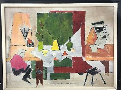 1950's LYNN EGBERT PAINTING ABSTRACT EXPRESSIONISM MODERNISM VINTAGE MCM CENTURY