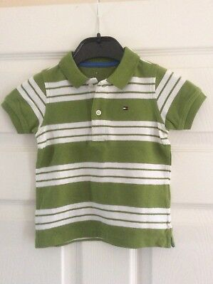 Tommy Hilfiger Green/White polo shirt - age 12-18 Months