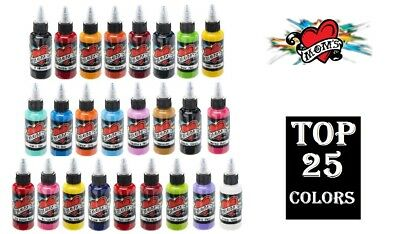 NEW Mom's Millennium Tattoo Ink 1 TOP 25 Colors Set Original Pigment 1/2 oz 15ml