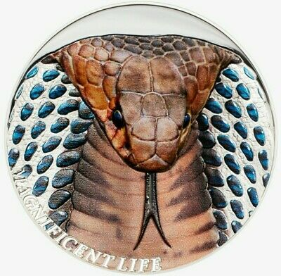 Cook Island 2017 $5 COBRA Magnificent Life Series 1 Oz PROOF Silver Coin.