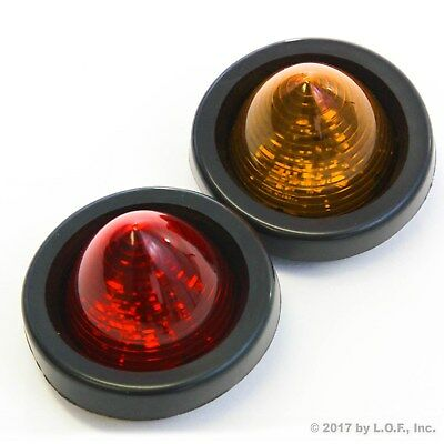 """2 New 2"""" LED Beehive Side Clearance Marker Lights w Grommet Wiring 1 Red 1 Amber"""