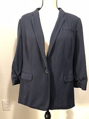 The Limited Lightweight Navy Blue Knit Womens XL Blazer With Polka Dot Lining