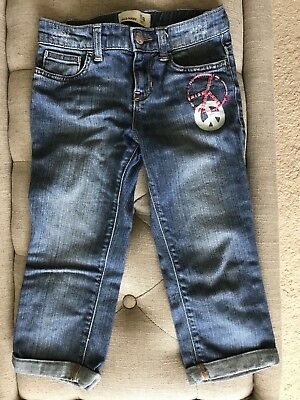 Old Navy Girls Denim Capris Cropped Jeans 8 EUC Peace Sign Butterfly