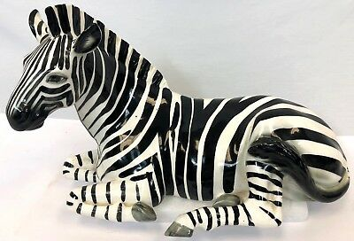 "19"" Light Ceramic Porcelain Africa Safari Black White Zebra Stripe Horse Statue"