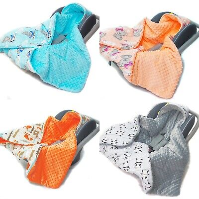 CAR SEAT BABY FILLED BLANKET– Reversible * COSYTOES * all season * MINKY * WARM